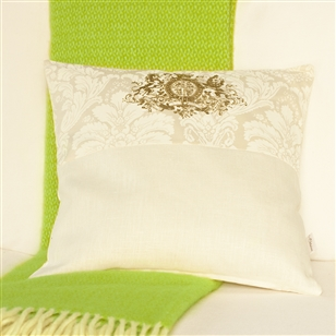 Damask pattern cushion with monogram au maison scatter for Au maison cushion
