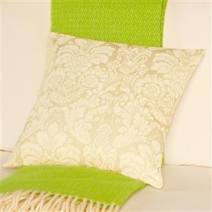 Damask pattern cushion with monogram au maison scatter for Au maison cushions