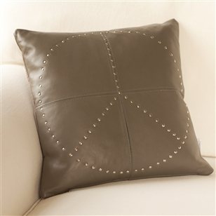 Leather cushion studded leather peace au maison for Au maison cushion