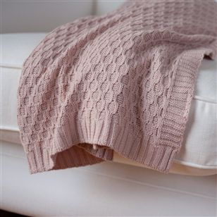 Powder Pink Knitted Throw Au Maison Soft Furnishings