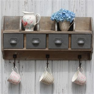 Bathroom | Storage & Hampers | Reclaimed Wood Wall Unit With Steel Drawers
