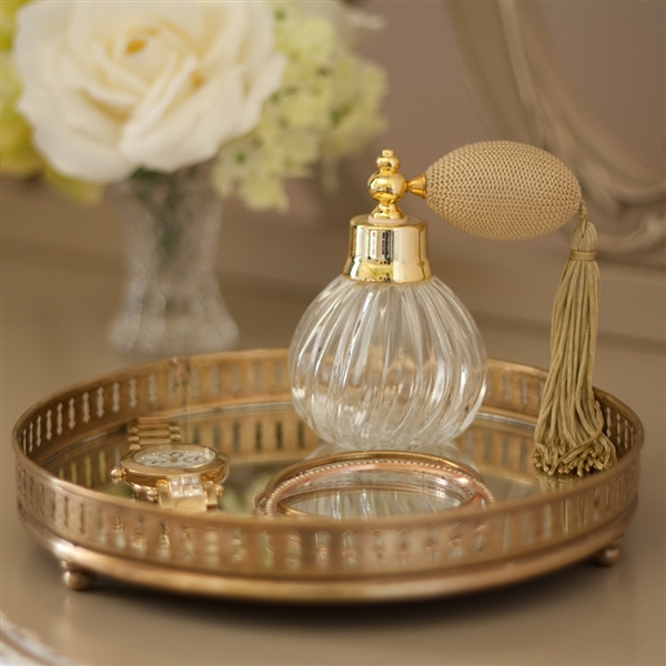 Silver Or Gold Small Round Mirror Tray Jo Byrne Countertop Accessories