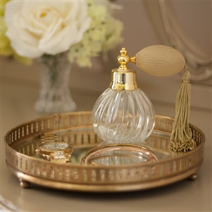 Silver Or Gold Small Round Mirror Tray Jodie Byrne Countertop Accessories