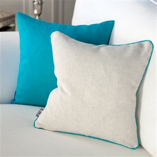 Living Room | Scatter Cushions | Turquoise & Oatmeal Linen Cushion Covers