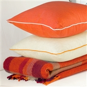 Red/Orange Linen Cushion Covers With Piping