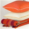 Living Room | Scatter Cushions | Red/Orange Linen Cushion Covers With Piping