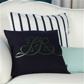 Navy Cushion With Metallic Monogram Motif