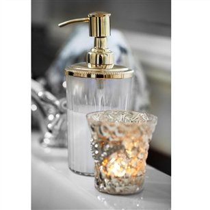 Clear glass lotion dispenser in silver or gold jodie for Gold glass bathroom accessories