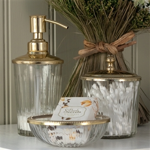 Bath Beauty Countertop Accessories Clear Gl Lotion Dispenser In Silver Or Gold