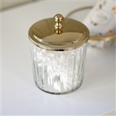 Clear Glass Storage Jar With Silver Or Gold Lid