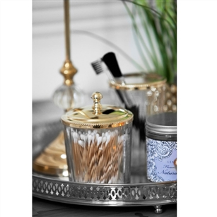 Clear glass storage jar with silver or gold lid jodie for Clear glass bathroom accessories