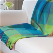Check Wool Throw in Turquoise & Lime Green