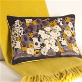 Hand Embroidered Cushion in Indigo Blue