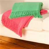 Ribbed Throw With Fringing