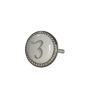 Number Three Silver & Ceramic Door Knob
