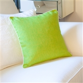 Lime Green Cushion Cover With White Piping