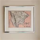 Framed Print of Postage Stamp Style Map 3