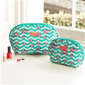 Set Of Chevron Oval Clutch Toiletry Wash Bags