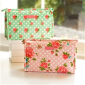 Country Floral Toiletry Bag With Polka Dots