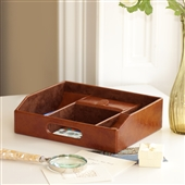 Tan Brown Valet Tray Desk Organiser