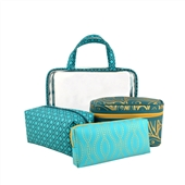 4pc Make Up And Cosmetic Case Gift Set In Teal